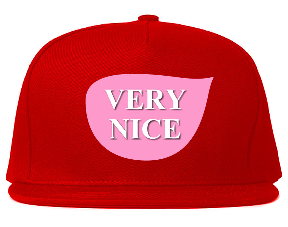 Very Nice Tear Drop Pink Logo Black Snapback Hat Red