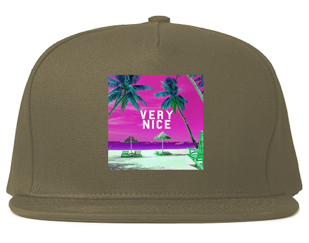 Very Nice Palm Trees Logo Black Snapback Hat