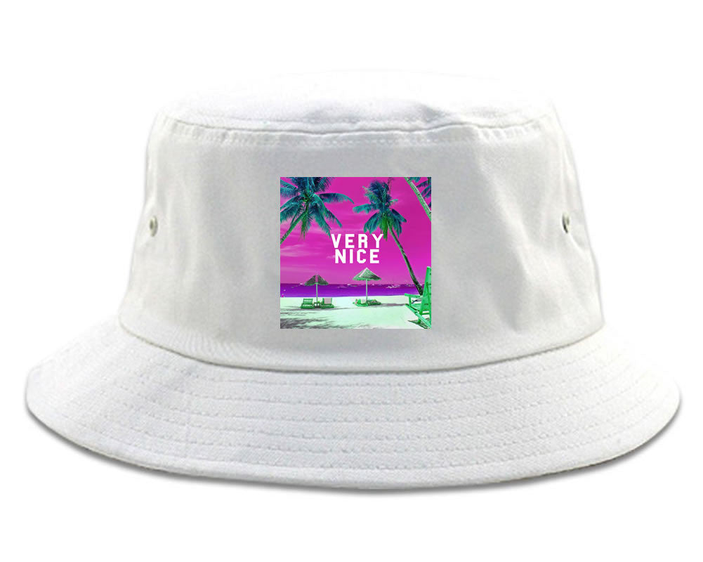 Very Nice Palm Trees Logo Black Bucket Hat