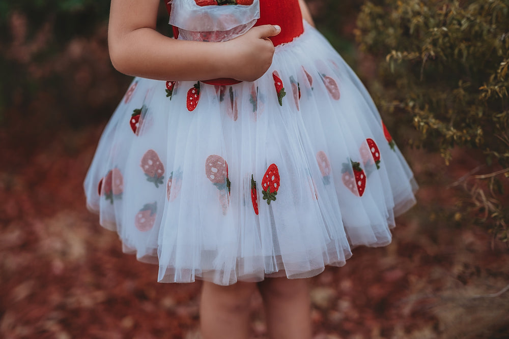 Embroidered Strawberry Tutu