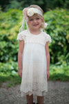 Vintage crochet cap sleeve dress in ivory