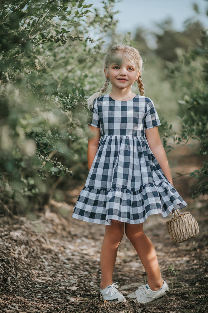 Buffalo Check Dress in Navy
