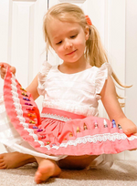 Pink Coloring Book apron with lace