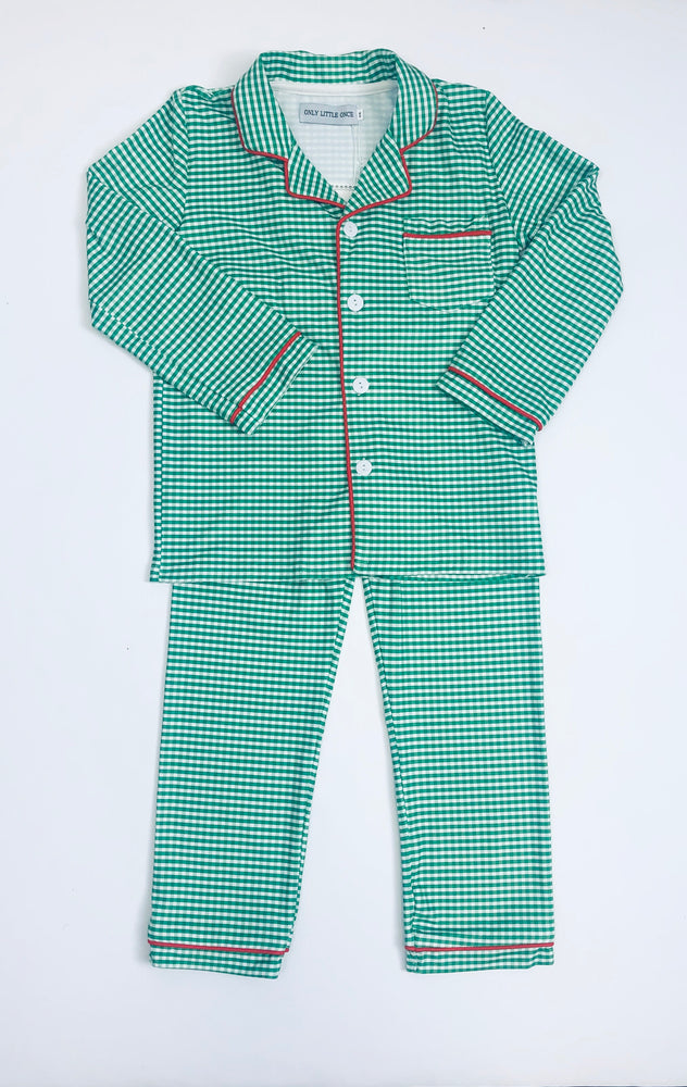 Gingham Plaid boys two piece pajamas