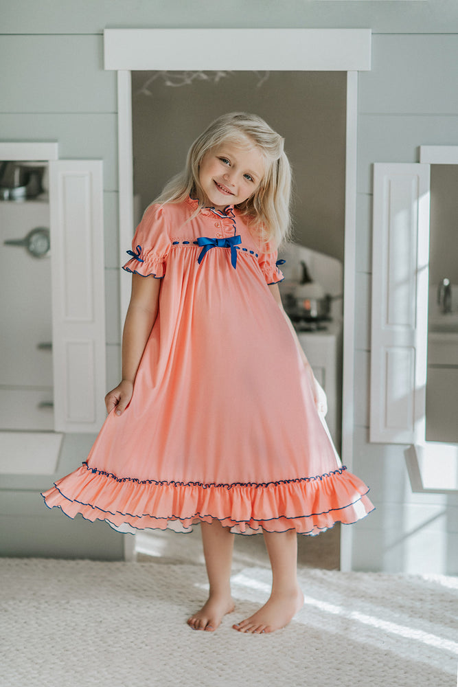 Melon and Navy Clara gown