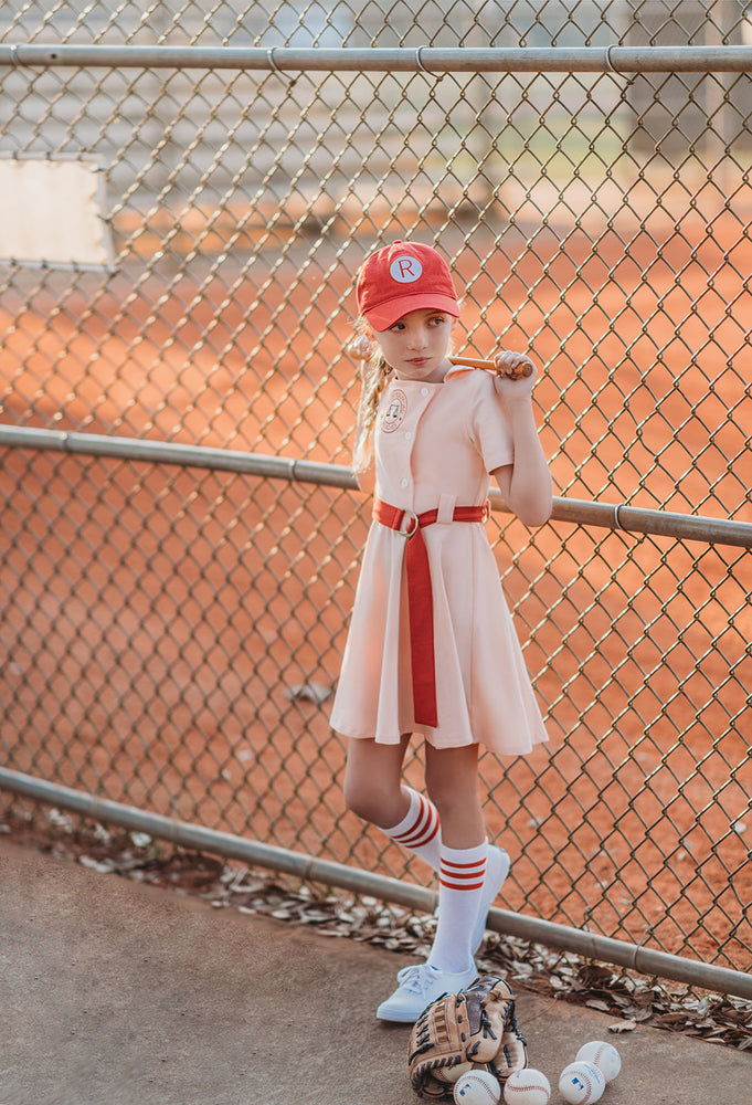 Vintage Girls Baseball Uniform Twirl Dress