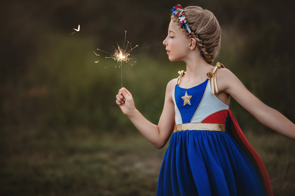 Wonder Girl Patriotic Super Hero Twirl