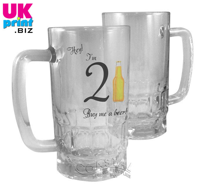 Personalised Glass Beer Mugs 22oz