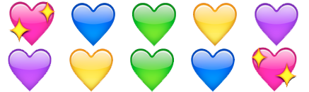 Colorful hearts emoji