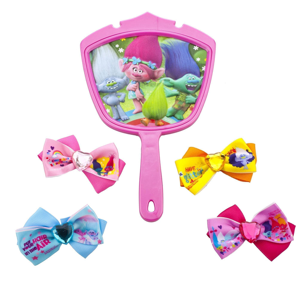 Trolls 4 Pack Hair Bows with Mirror