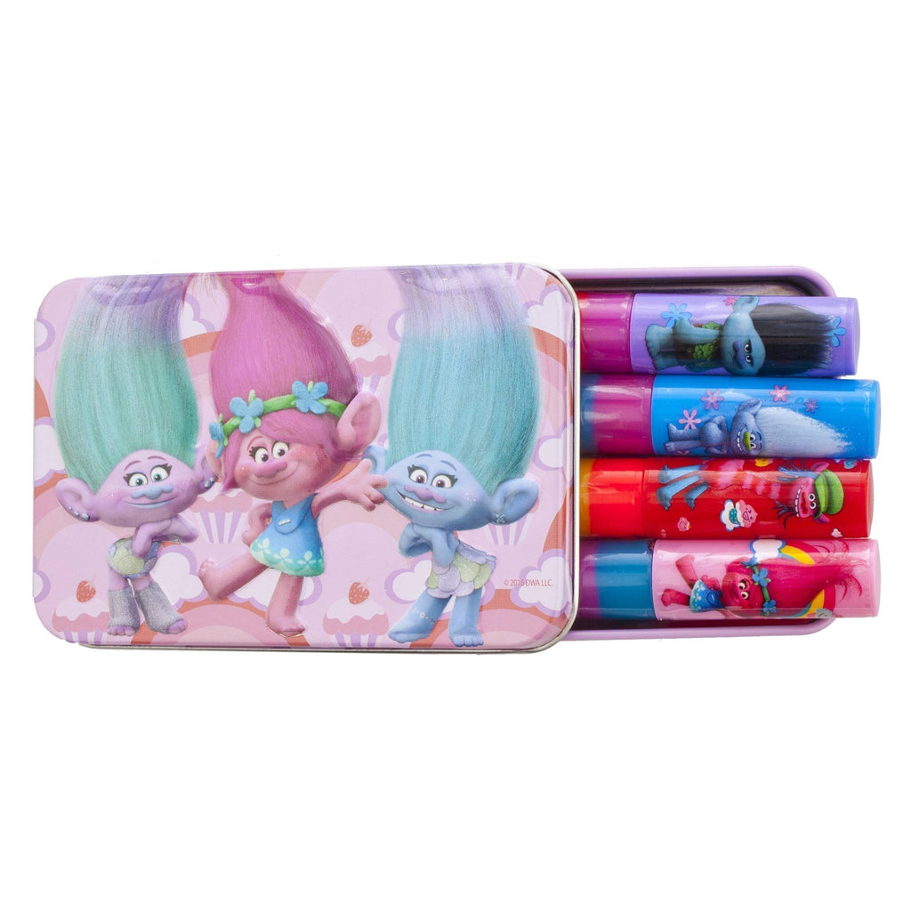 Trolls 4 Pack Lip Gloss with Tin