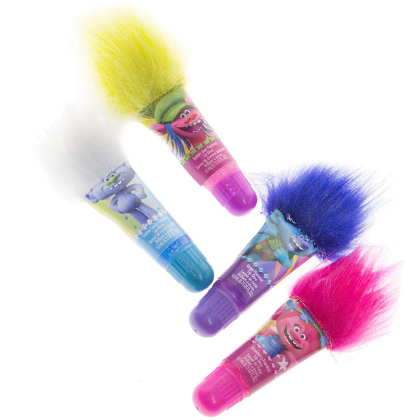 Trolls Lip Gloss with Hair, 4 Flavors include: Grape, Strawberry, Watermelon and Cotton Candy