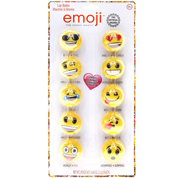 Townley Girl Emoji Lip Gloss For Girls Super Sparkly Lip Balm, Assorted Flavors, 10 pack