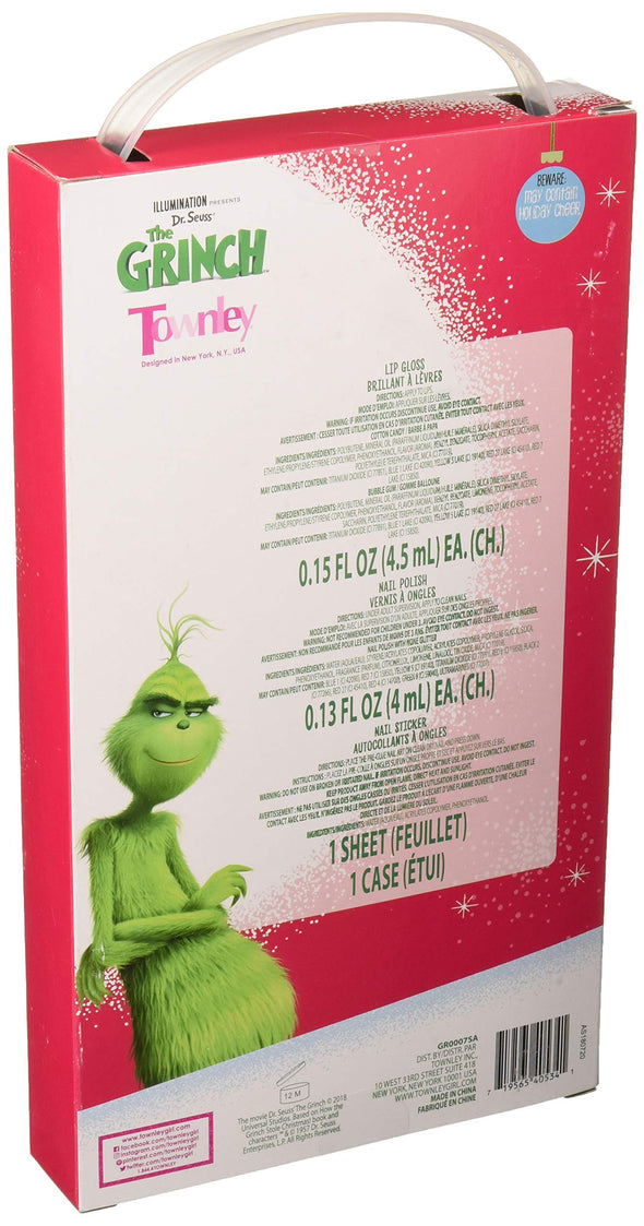 TownleyGirl The Grinch Kiss It Paint It Lip Gloss, Nail Polish and Nail Sticker Set with Makeup Case, 6 Pieces