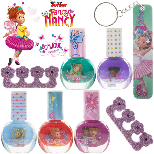 Townley Girl Disney Junior Fancy Nancy Non-Toxic Peel-Off Nail Polish Set with Nail File and Toe Separators for Girls, Opaque Colors, Ages 3+ (5 Pack)