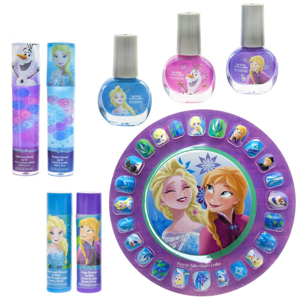 Frozen Elsa and Anna Kids Washable Mega Cosmetic Set Includes: Lip Balm, Nail Polish, Press on Nails, Hair Bows, Mirror, Nail Decorations, Lip Gloss Compact, Picture Frame, Lip Gloss, Nail file
