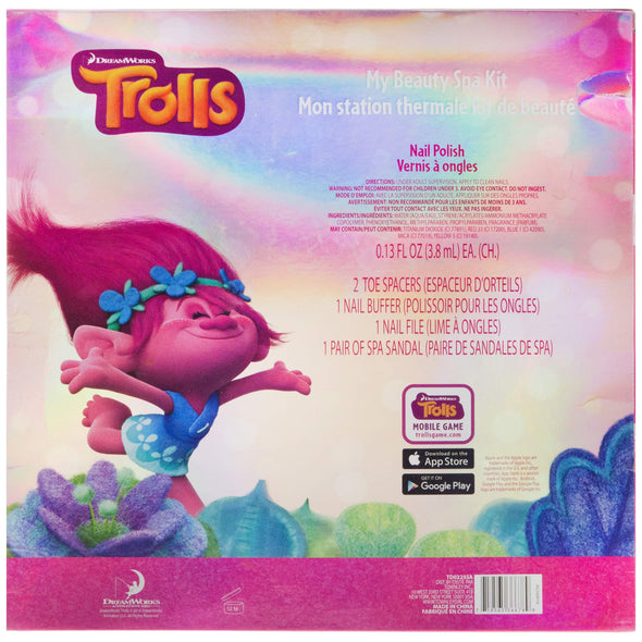 Townley Girl DreamWorks Trolls My Beauty Spa Set Polish, Buffer, File, Sandals and Toe Separators, 10 Piece Set