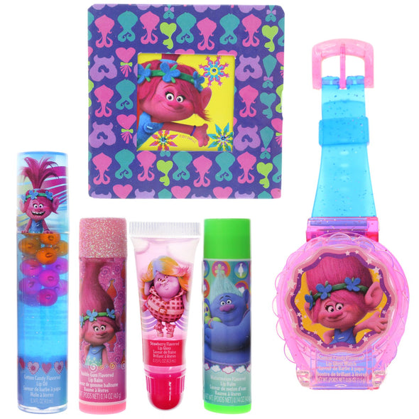 Townley Girl Dreamworks Trolls Cosmetic Set with Nail Polish, Lip Gloss, Press-On Nails, Sandals, Toe Separators, and More