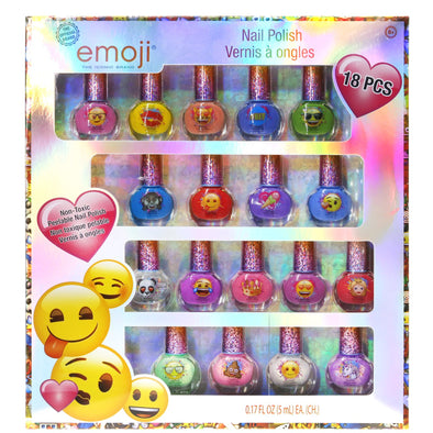 Emoji Kids Washable Super Sparkly Peel-Off Nail Polish Deluxe Set for Girls, 18 Pieces, Colors Include: Pink, Yellow, Red, Blue, Green and Purple.