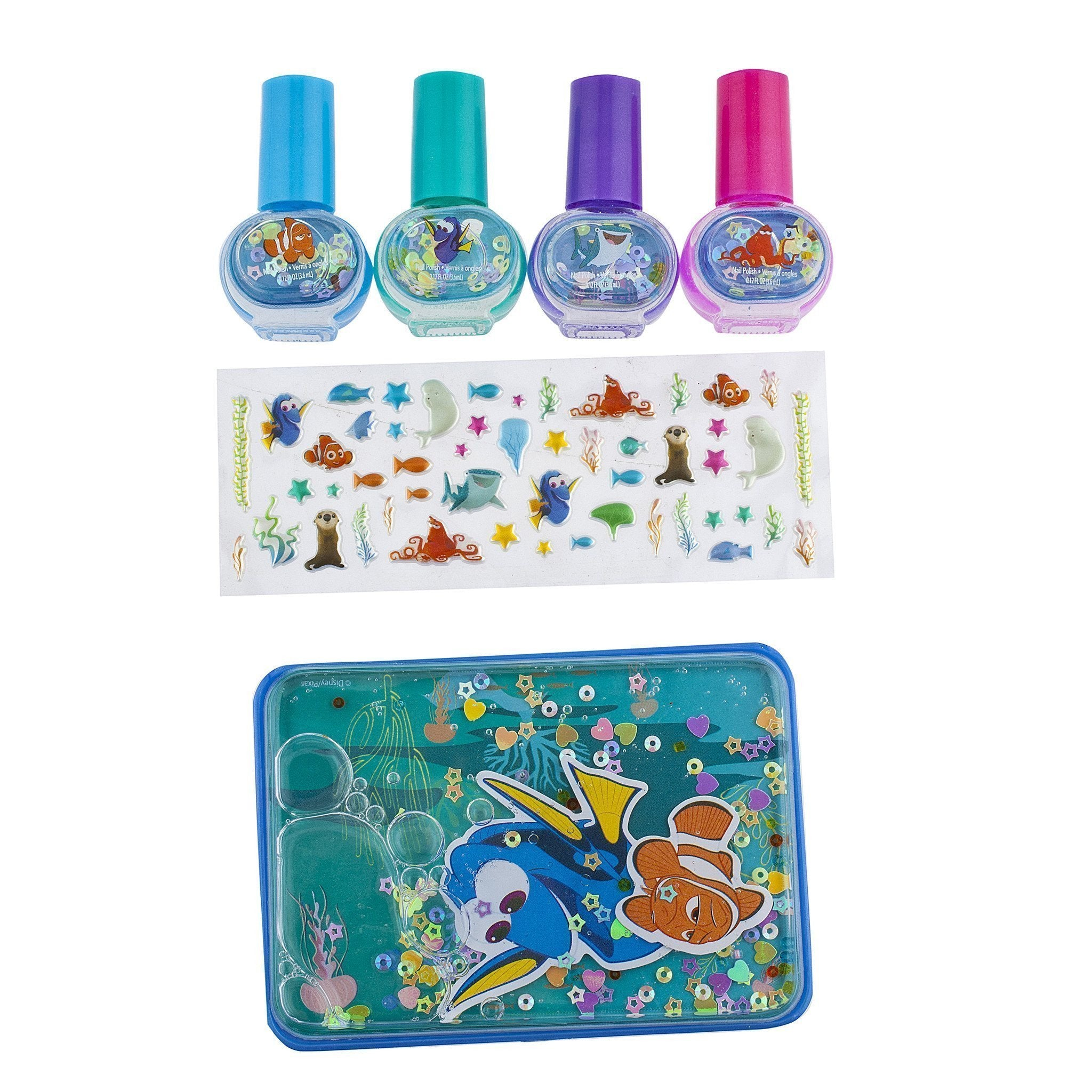 finding dory 4 pack nail polish with stickers and carrying case set