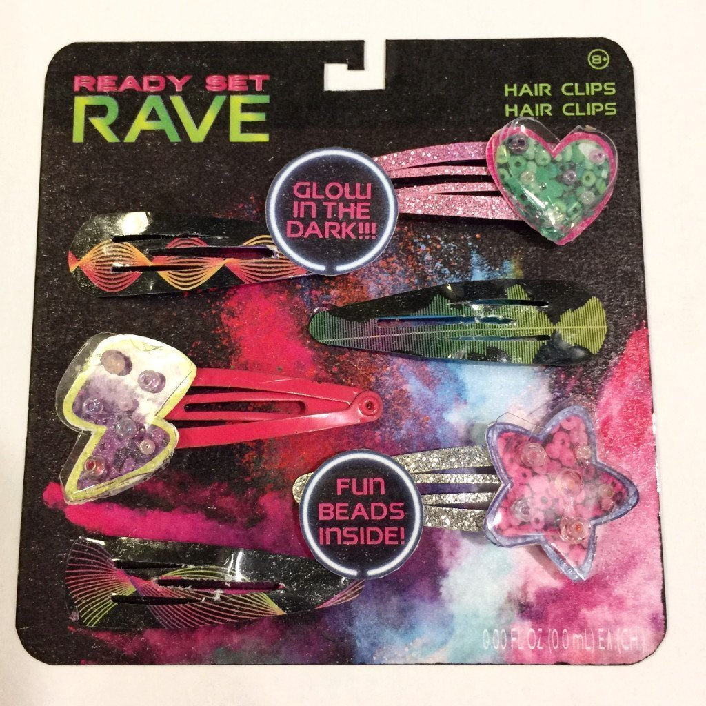 Ready Set Rave Glow in the Dark 6 Pack Hair Clips