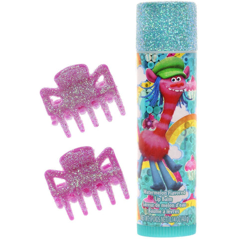 Trolls Lip Balm with Glitter Hair Clips