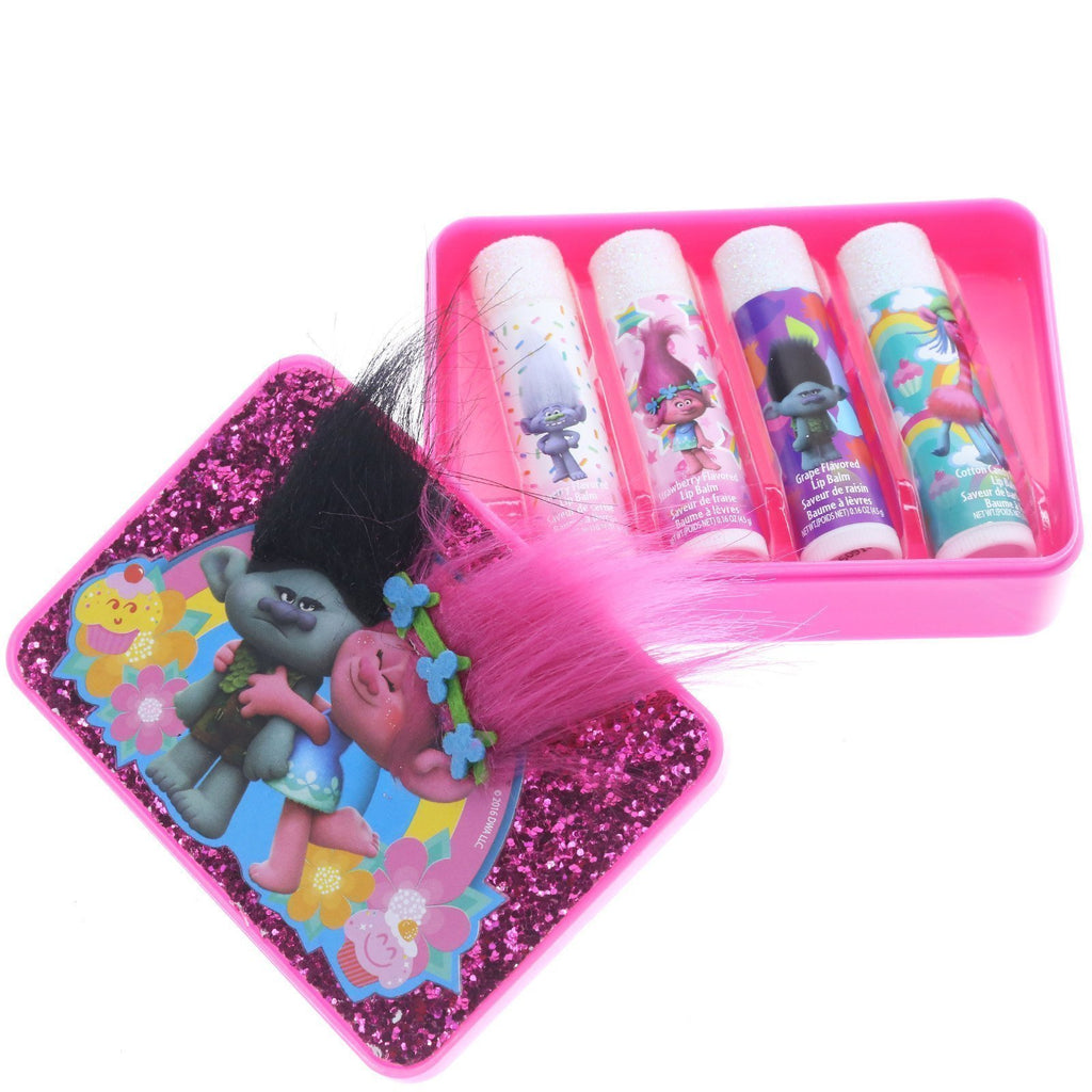 Trolls 4 Pack Mini Lip Balm with Carrying Case