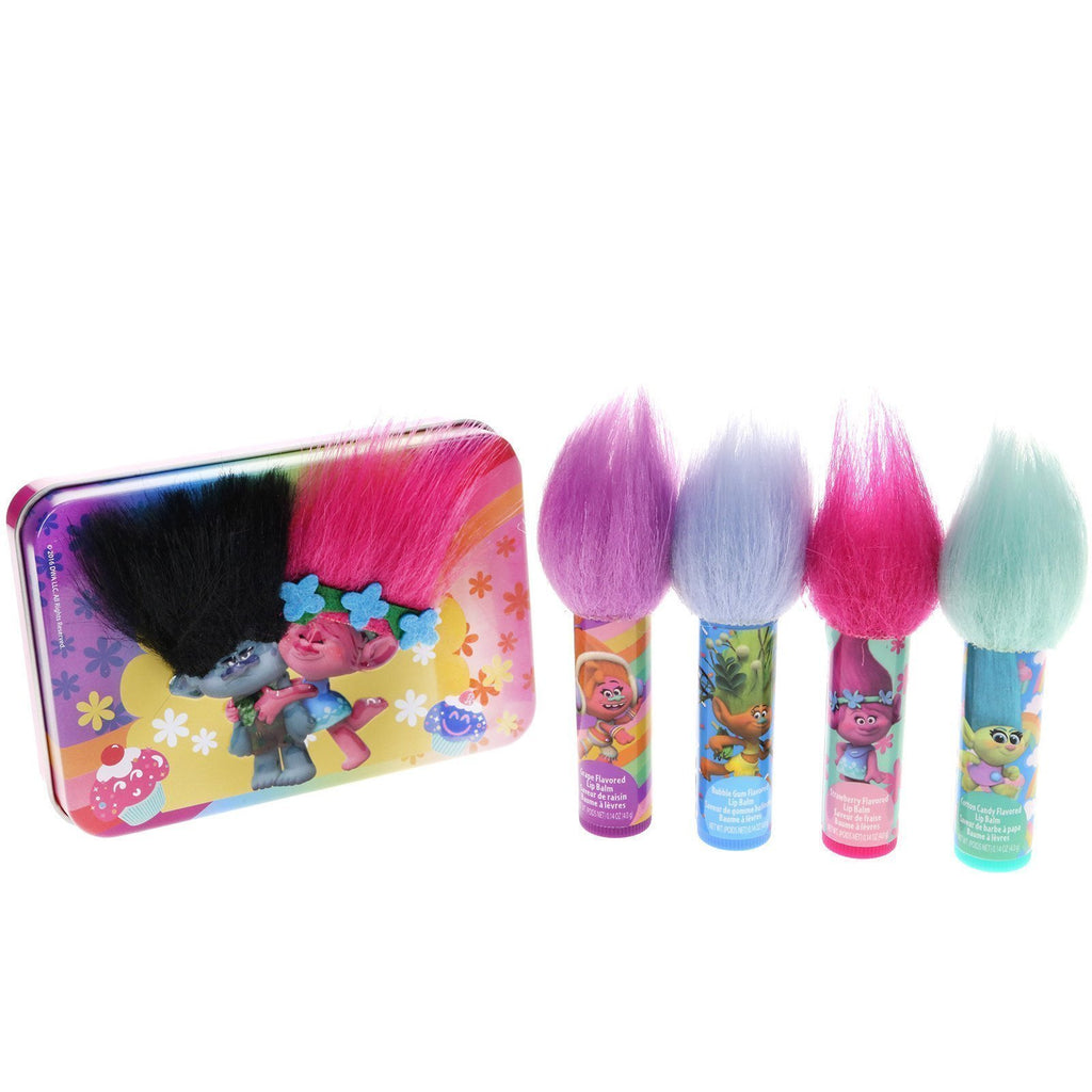 Trolls 4 Pack Lip Balm with Tin