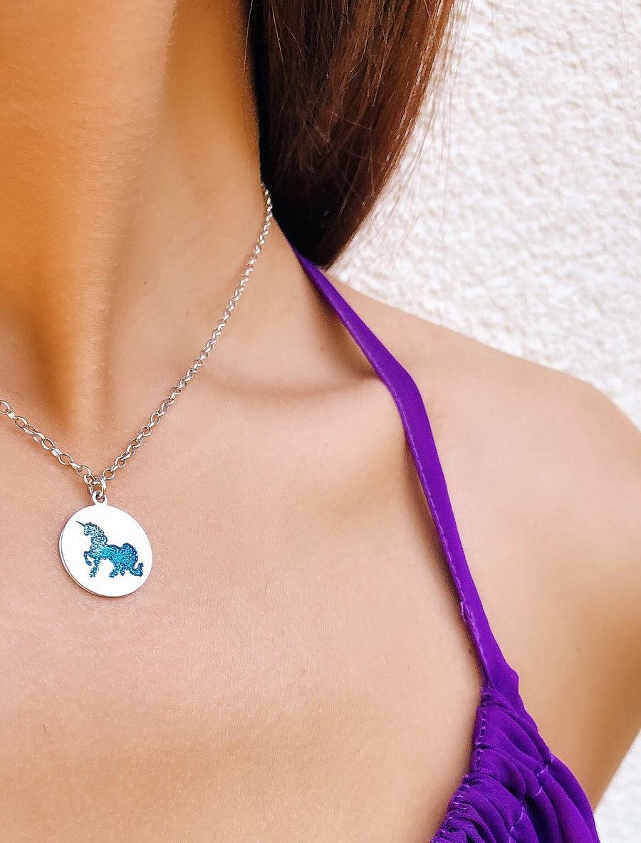 Blue Unicorn Necklace