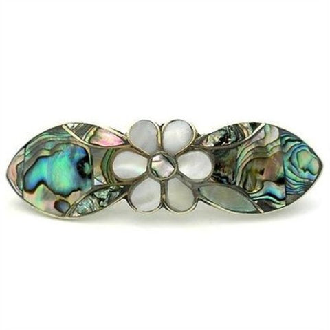 Abalone, Mother-of-Pearl, Daisy Barrette, Alpaca Silver, Handmade