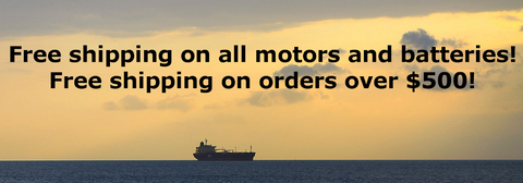 Free shipping in Canada for motors and batteries