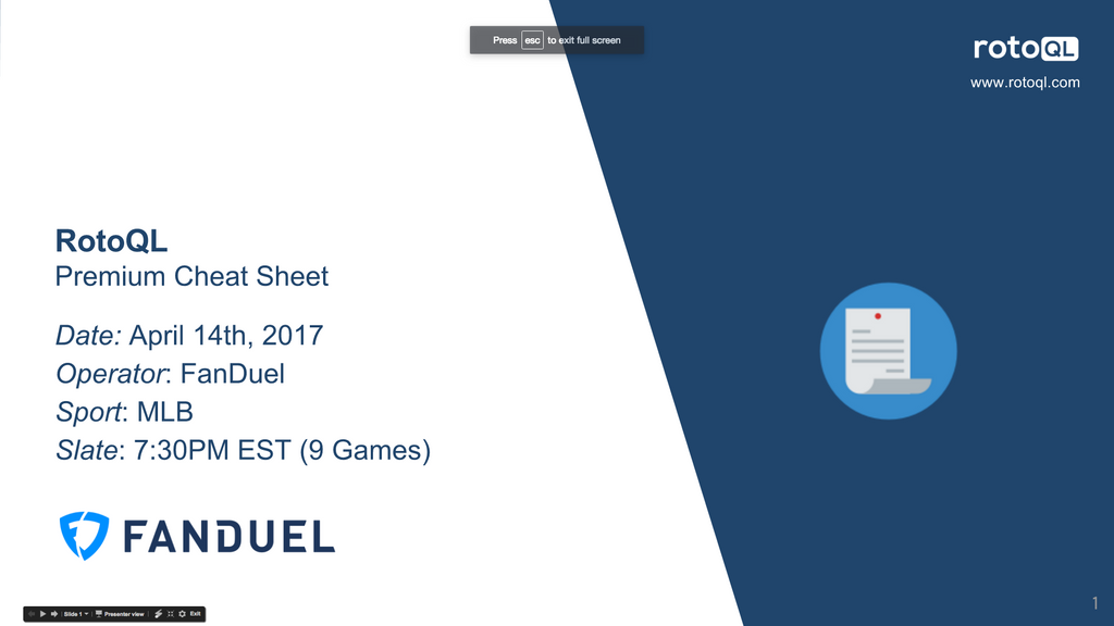 FanDuel Premium Cheat Sheet
