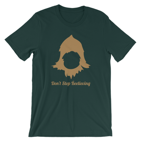 "WallaBee Sasquatch ""Don't Stop Beelieving"" Unisex Short Sleeve T-shirt"