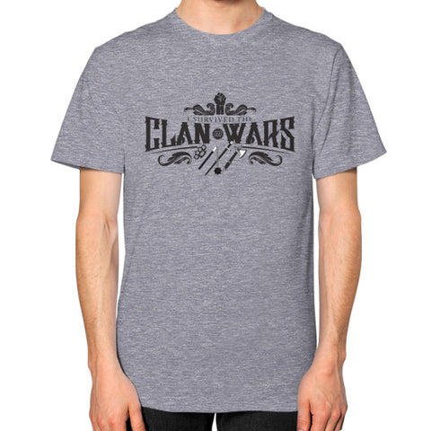 "Munzee ""I Survived the Clan Wars"" Unisex T-Shirt Tri-Blend Grey - munzeestore"