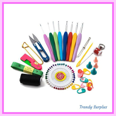 Very Cool 34 Piece Crochet/Sewing/Knitting Set All in 1 ! - Trendy Surplus