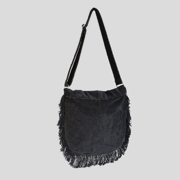 Corduroy black velvet cross bag