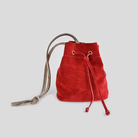 Red suede velvet pouch