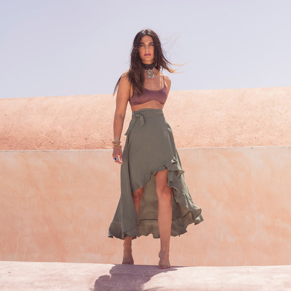 """Green Oasis"" Wrap Skirt"