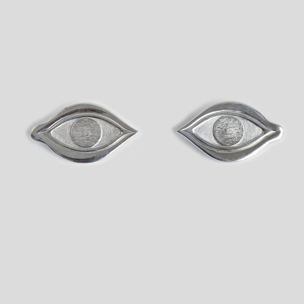 Silver eye earrings