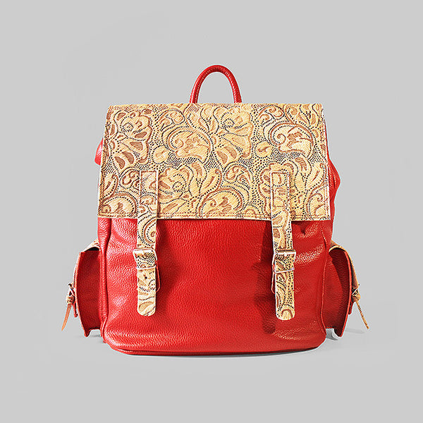Pony skin - laser cut red leather backpack