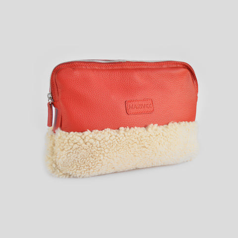 Halfway red leather clutch