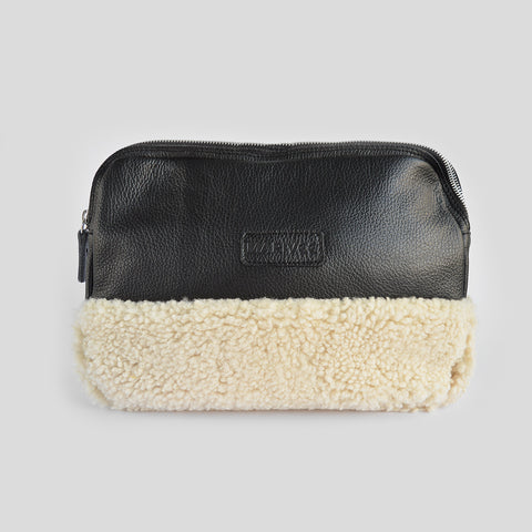 Halfway black leather clutch