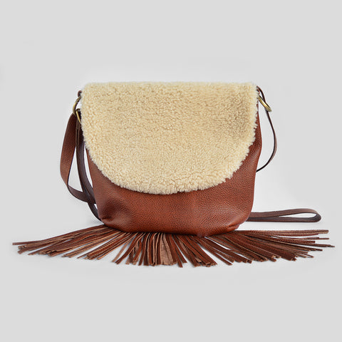 Muse sheepskin fringed bag
