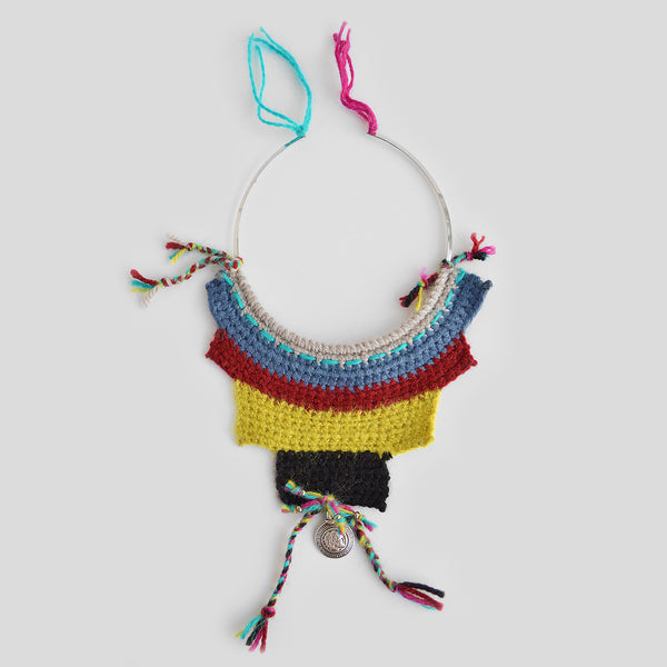 Knitted love wool necklace