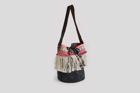 Fringed black  bohemian basket bag