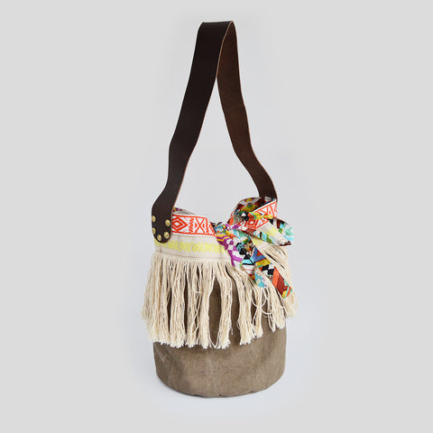 Fringed bohemian basket bag