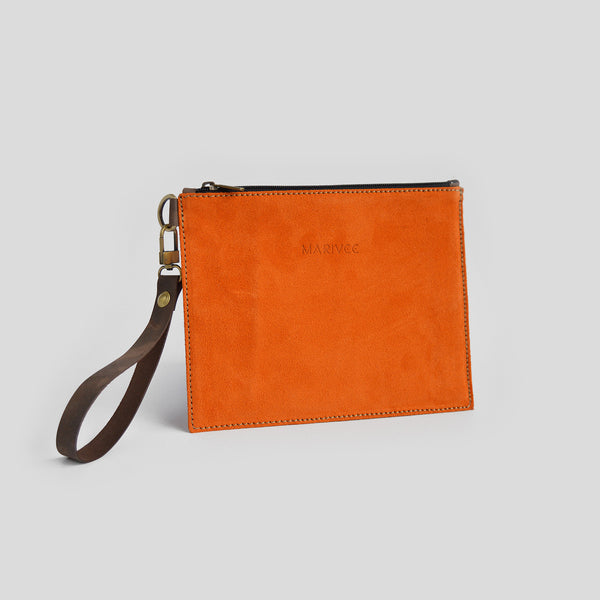 Suede orange clutch