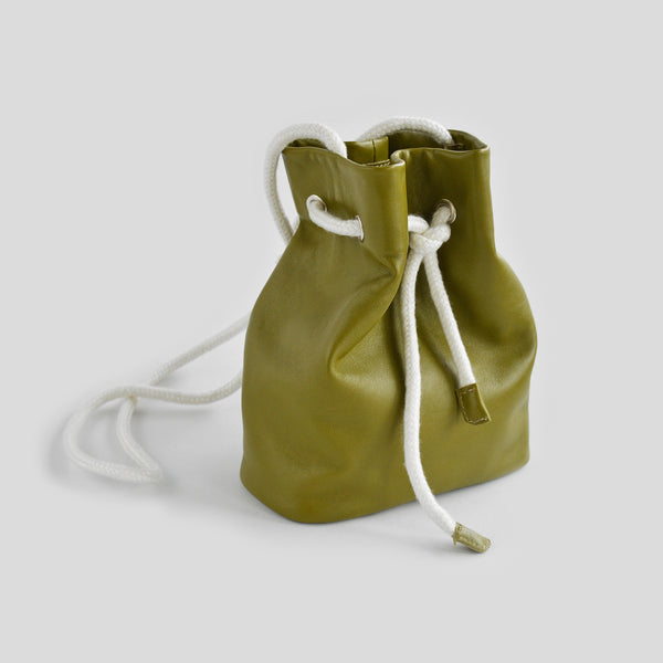 Olive leather pouch