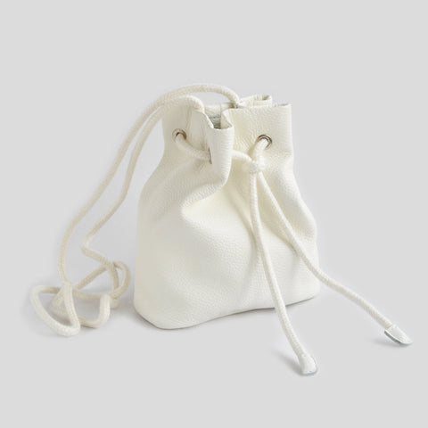 Real leather white pouch