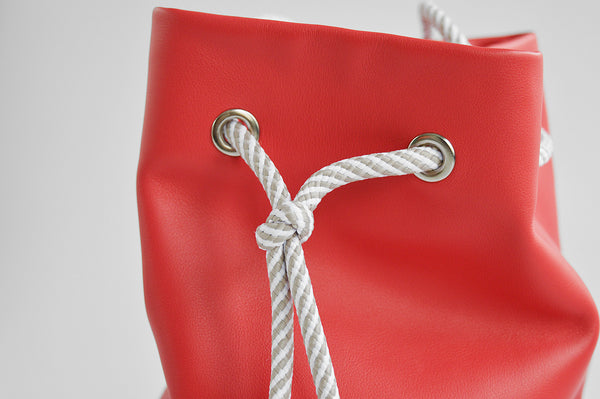 Real leather coral pouch